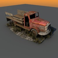 weathered truck ruins obj free