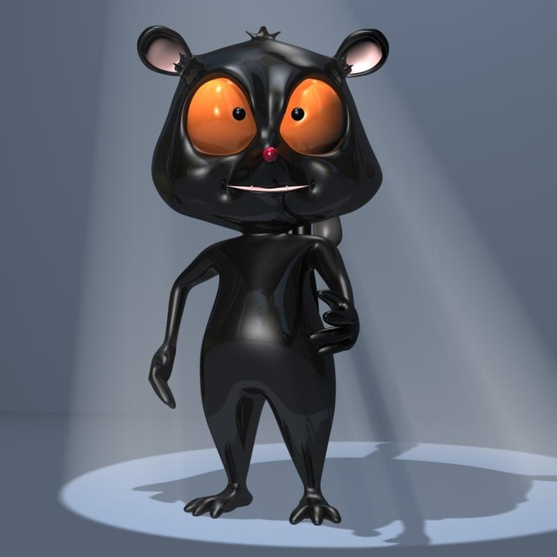 3d model black lemur character toon