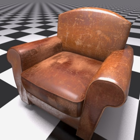 old leather arm chair 3d max
