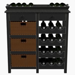 3d wine cabinet spieghel