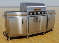 stainless steel gas grill 3d 3ds