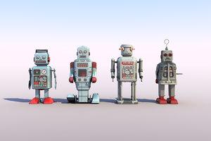 3d obj retro toy robots