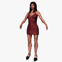 3d dresses rigged woman model