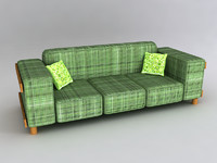 Elegant old- fashion style sofa/ couch with exposed wooden base