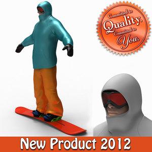 3d snow boarder boots board model