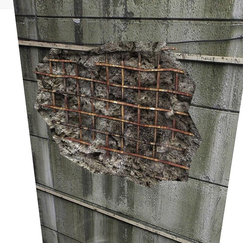 3d model of bunker wall hole