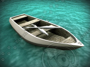 3d boat rowboat row dinghy model
