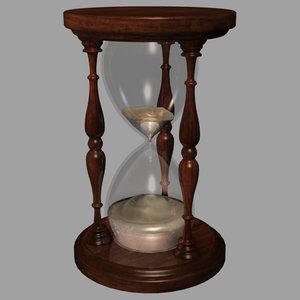 3d model of hourglass glass