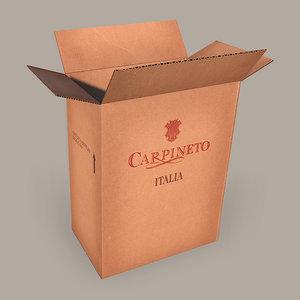 3dsmax cardboard wine box