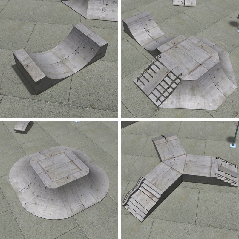 3d model modular skateboard ramps