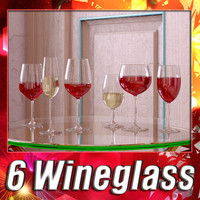 3d 6 wine glass collections model
