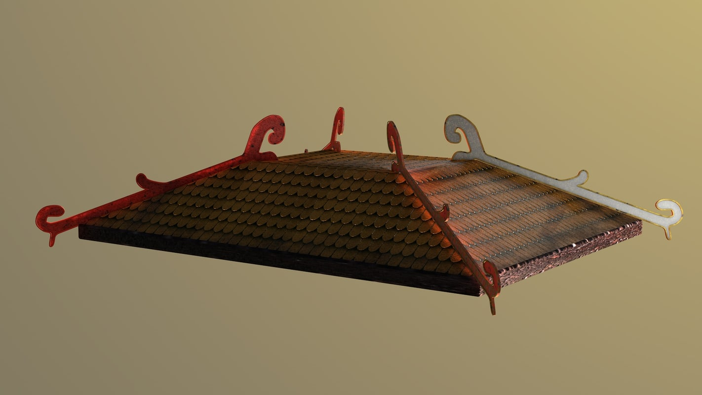 3d model asian rooftop ancient