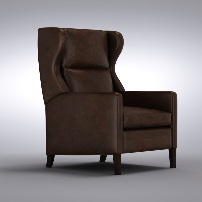 crate and barrel astaire leather wingback recliner