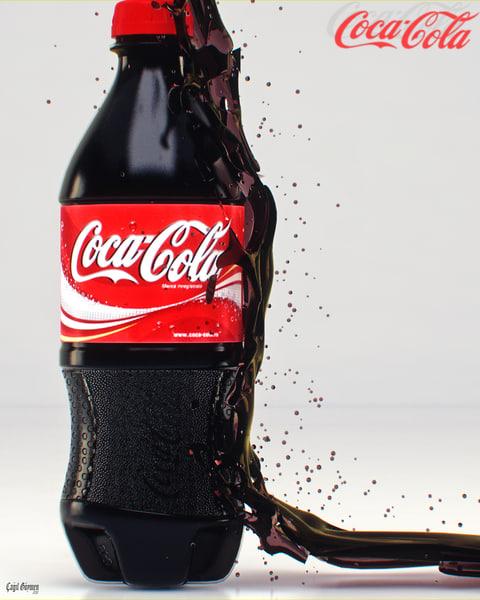 3d model cola bottle splash