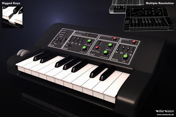 3d model analog synthesizer