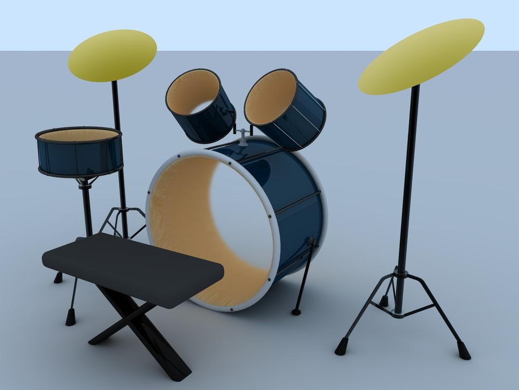 drum kit 3d 3ds
