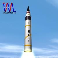 india missile drdo agni-v 3d model