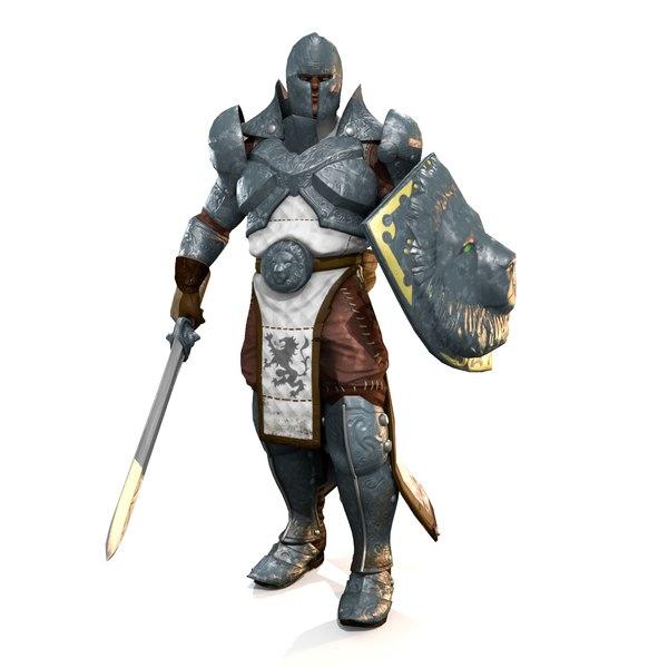 3dsmax knight sword shield