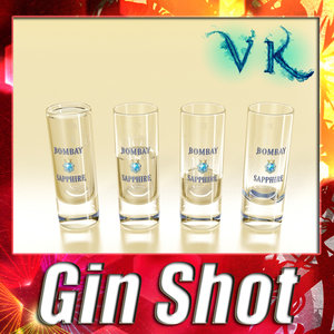 bombay sapphire gin shot glass 3d 3ds