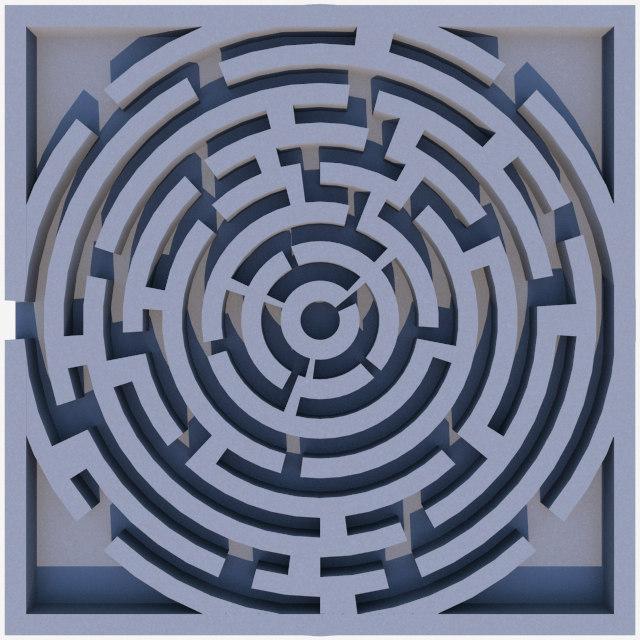 circle labyrinth 3d model