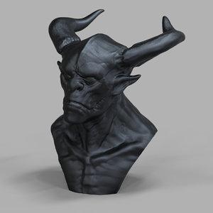 3d model printable creature head sculpture