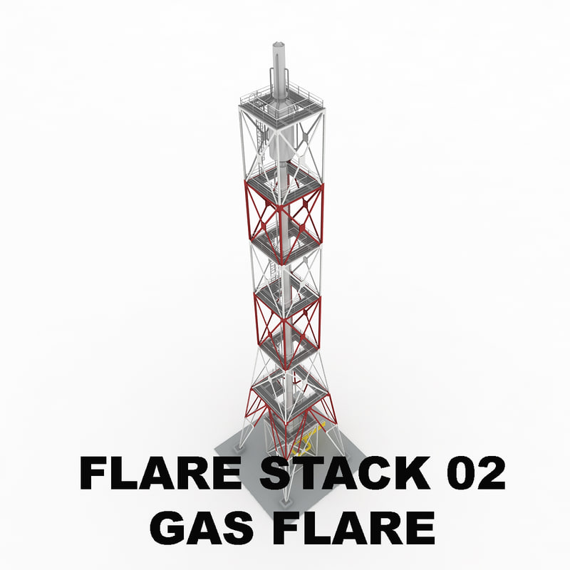 3d model flare stack gas 02