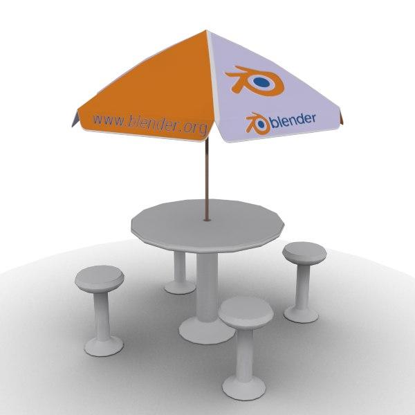 outdoor table umbrella 3d max