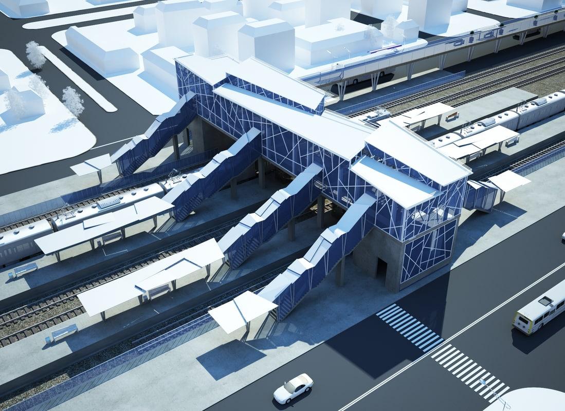 modern railway station 3d max