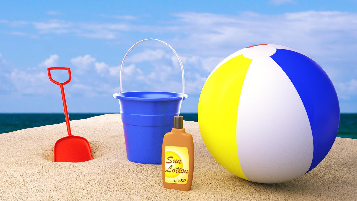 3d beach summer