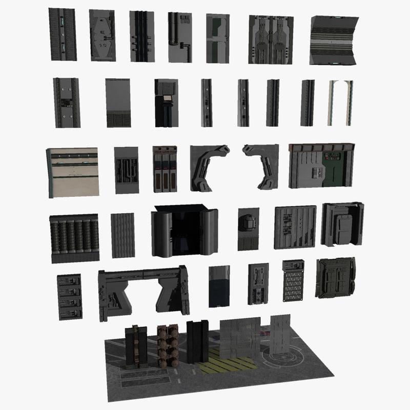 3d model scifi wall panels