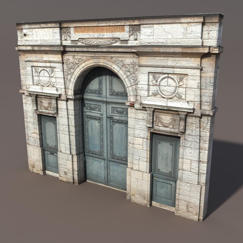 & 3d model ornate door modelled