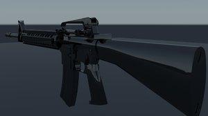 m16 modeled gun 3d max