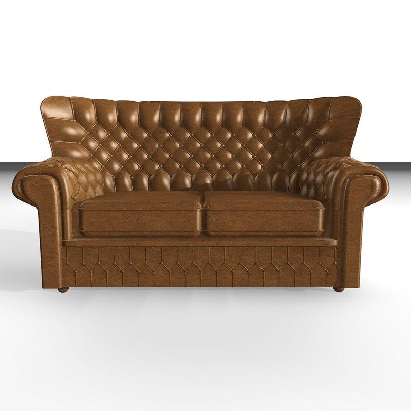 3d devon 2 seater leather chair
