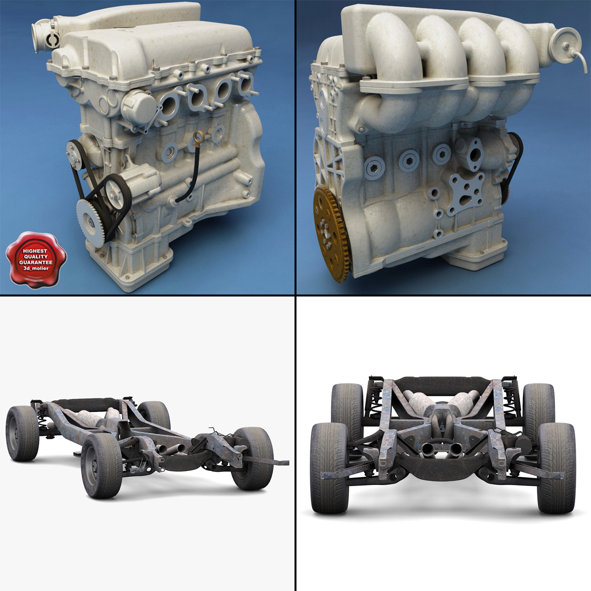 car chassis engine 2 3d model