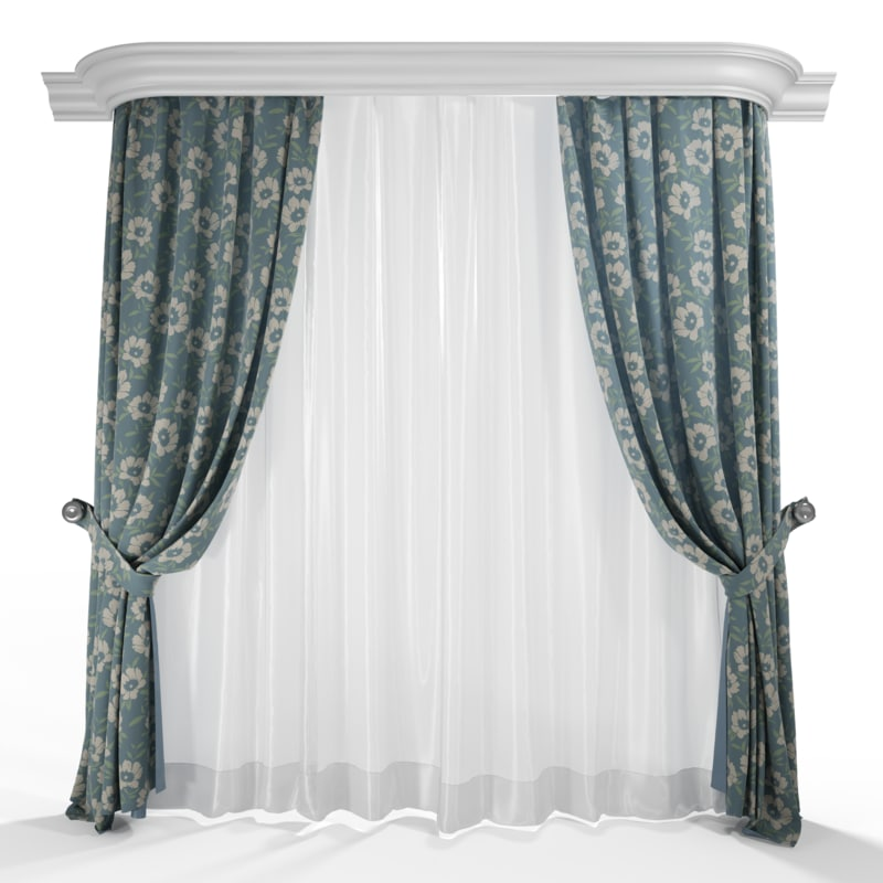 high-quality curtains 3d model