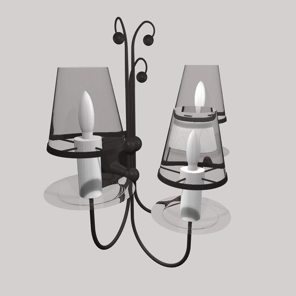 3d gothic wall lamp light model