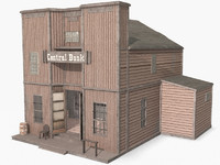 Western Bank II, Low Poly, Textured