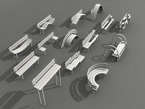 3d model park benches
