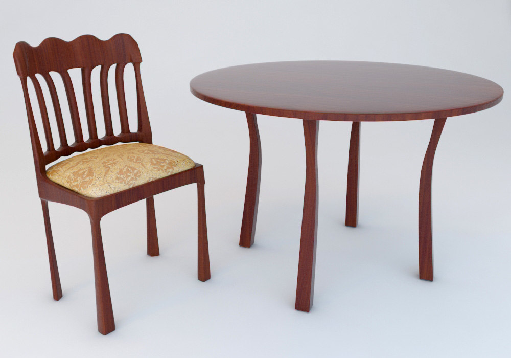 free chair table 3d model