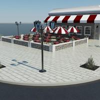 outdoor cafe 3d model