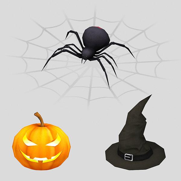 3d model pumpkin witch hat