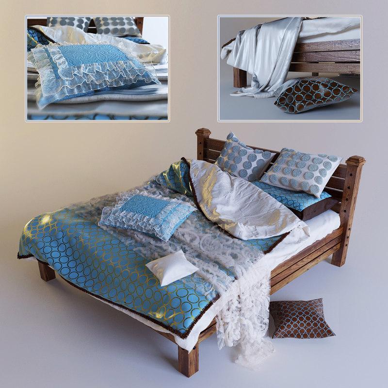 bed blanket pillows 3d model