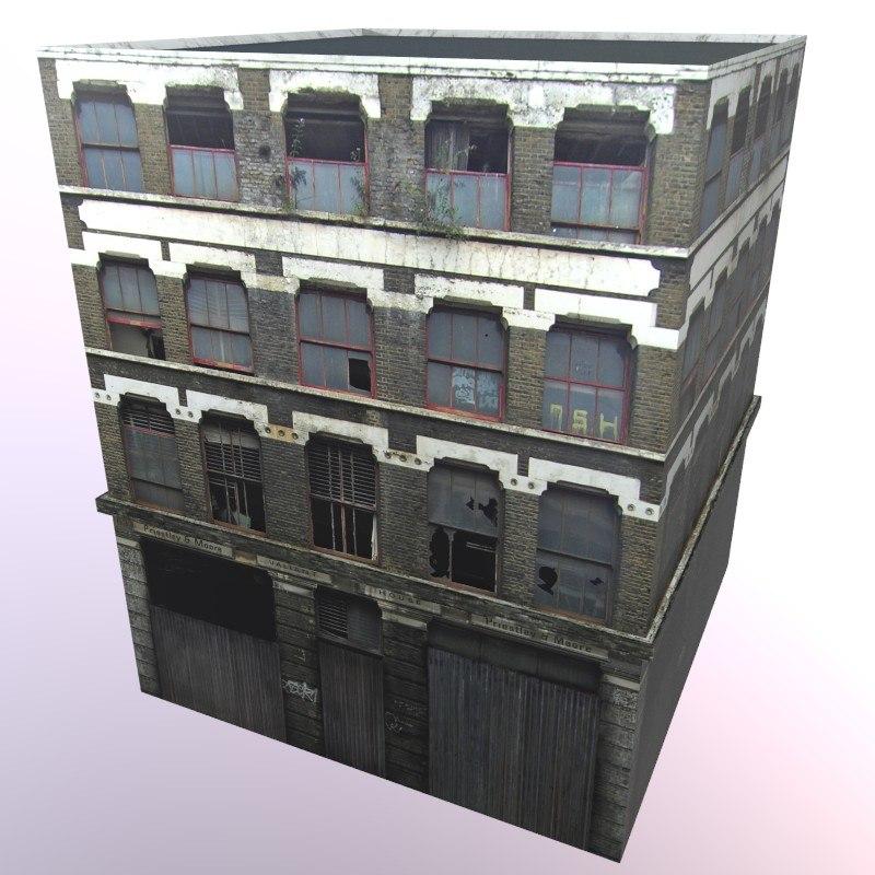 old brick building 3d x