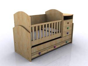 baby crib 3d max