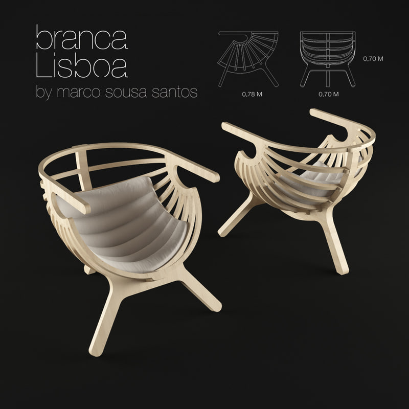 shell lounge chair branca-lisboa 3d model