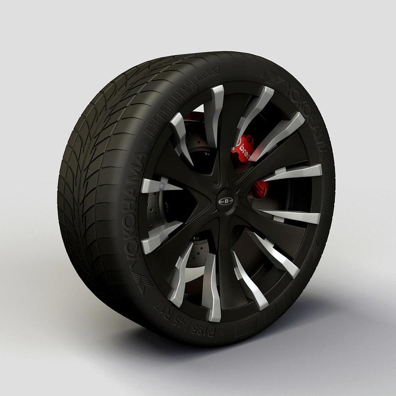 baccarat phang rims tyre 3d model