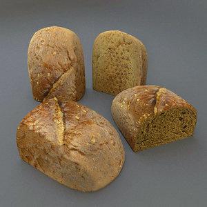 3d half bread model