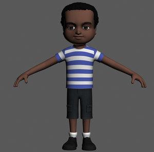 3d cartoony boy character