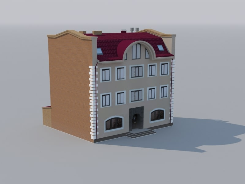 3d model of low-polygonal building games