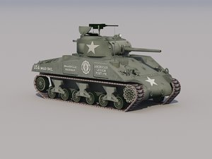 m4a3 sherman tank low-poly 3d model